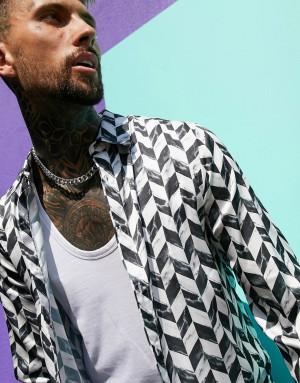 Атласная классическая рубашка с мраморным шевронным принтом ASOS DESIGN-Черный