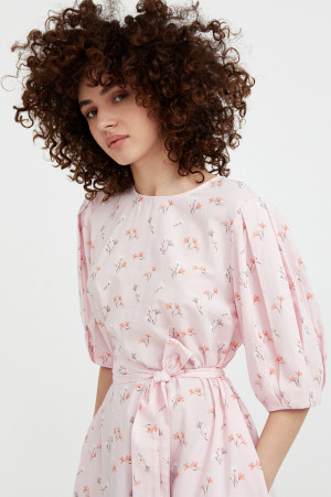 хлопковое платье с поясом Finn-Flare